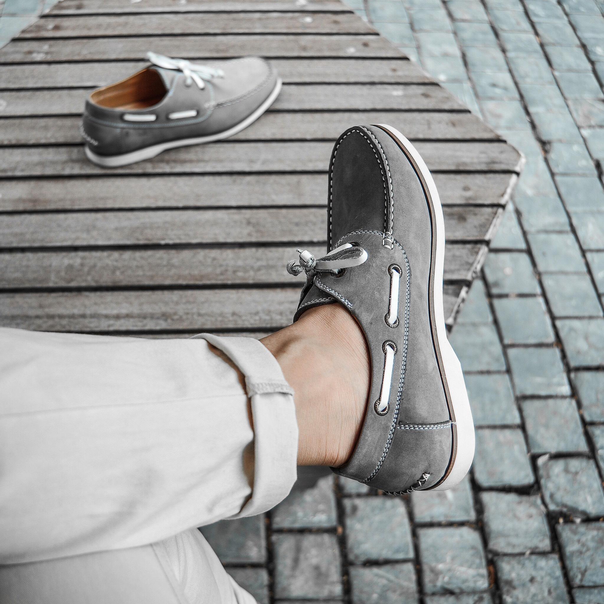 Giày Nam Cổ Thấp Buộc Dây Da Bò Thật Nguyên Tấm Cao Cấp BoatShoes TFHN447 - Size 38 - 43 - (Tặng Vớ/Lót Giày)