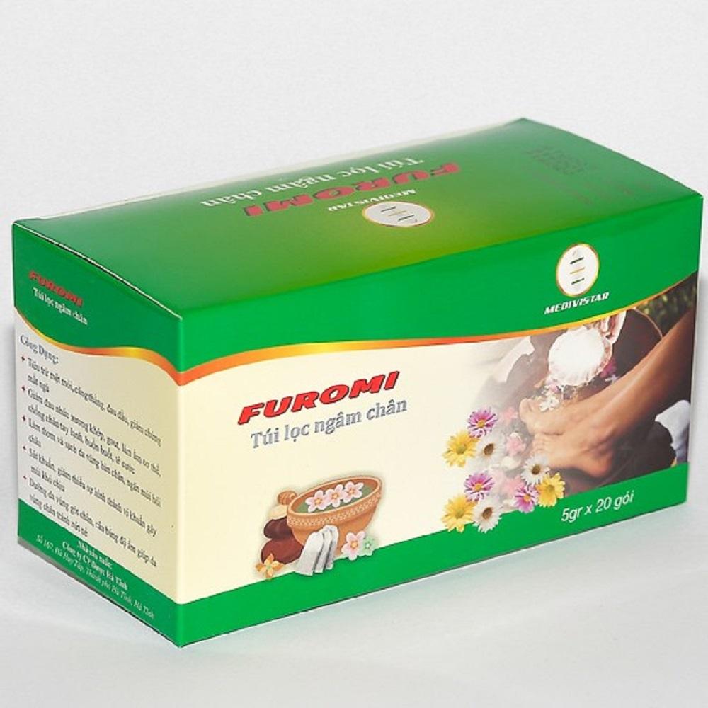 FUROMI Túi lọc thảo dược ngâm chân tự nhiên dành cho người đau xương khớp, gút, đau đầu, mất ngủ, lạnh chân tay lâu ngày, hôi chân, bệnh ra mồ hôi chân (01 HỘP x 20 túi lọc)