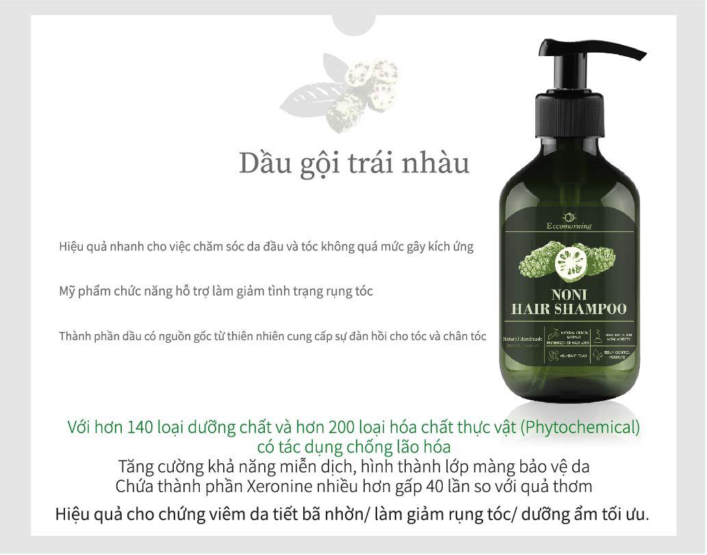 Dầu Gội Trái Nhàu ECCOMORNING - Natural Handmade Noni Hair Shampoo 500 ml