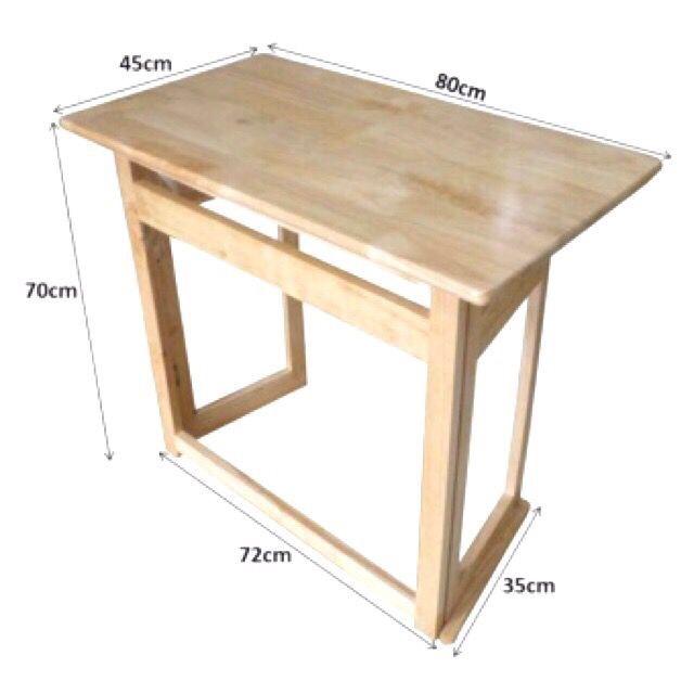 Bàn học gỗ xếp gấp gọn đa năng, 4 cạnh mặt bàn được bo tròn