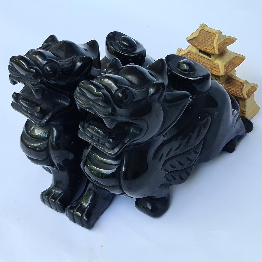 Cặp Tỳ Hưu Đá Núi Lửa Obsidian Đen - Mx - Hợp Mệnh Mộc, Thuỷ