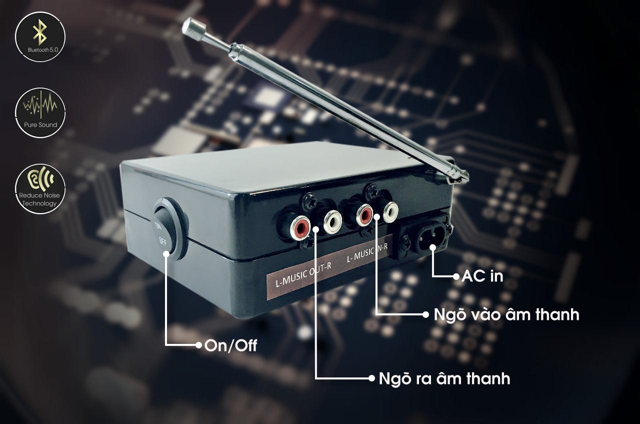 Bộ Thu Tín Hiệu Bluetooth 5.0 (v5.0) AMITECH Chip Giải Mã Âm Thanh Chất Lượng Cao, Nghe đài FM, Nghe Nhạc Từ Thẻ Nhớ/USB, 4 Cổng RCA - Hàng Chính Hãng