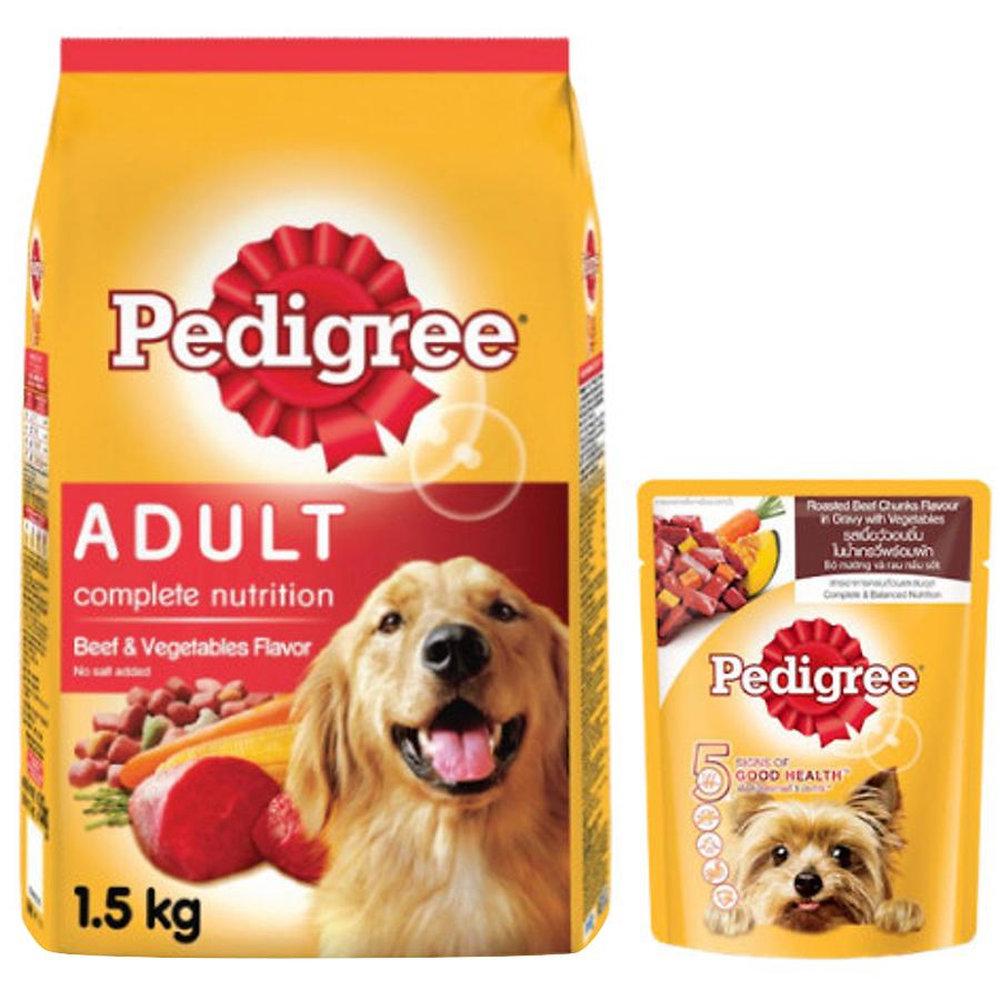 Đồ Ăn Cho Chó Vị Thịt Bò Và Các Loại Rau Củ Pedigree Dạng Túi 1.5kg