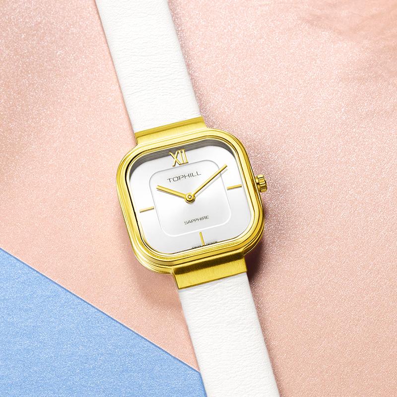 Đồng hồ nữ dây da chính hãng Thụy Sĩ TOPHILL TS003L.PW2292