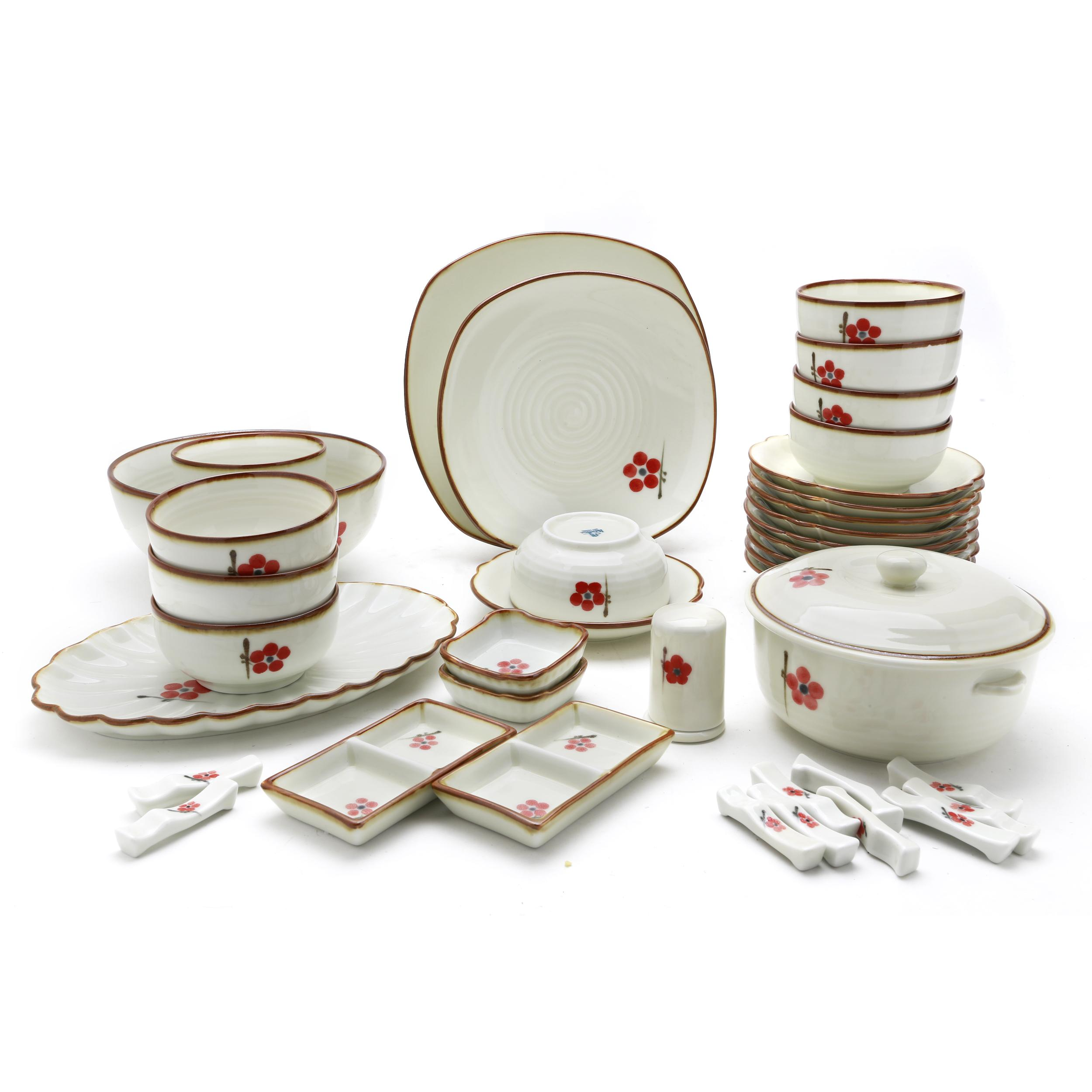 Bộ chén dĩa bàn ăn (tô chén đĩa)  men trắng kem vẽ hoa đào đỏ 6 người MNV-BBA01-7