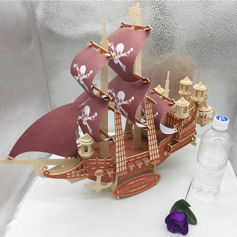 Đồ chơi lắp ráp gỗ 3D Mô hình Thuyền cướp biển Revenge Queen