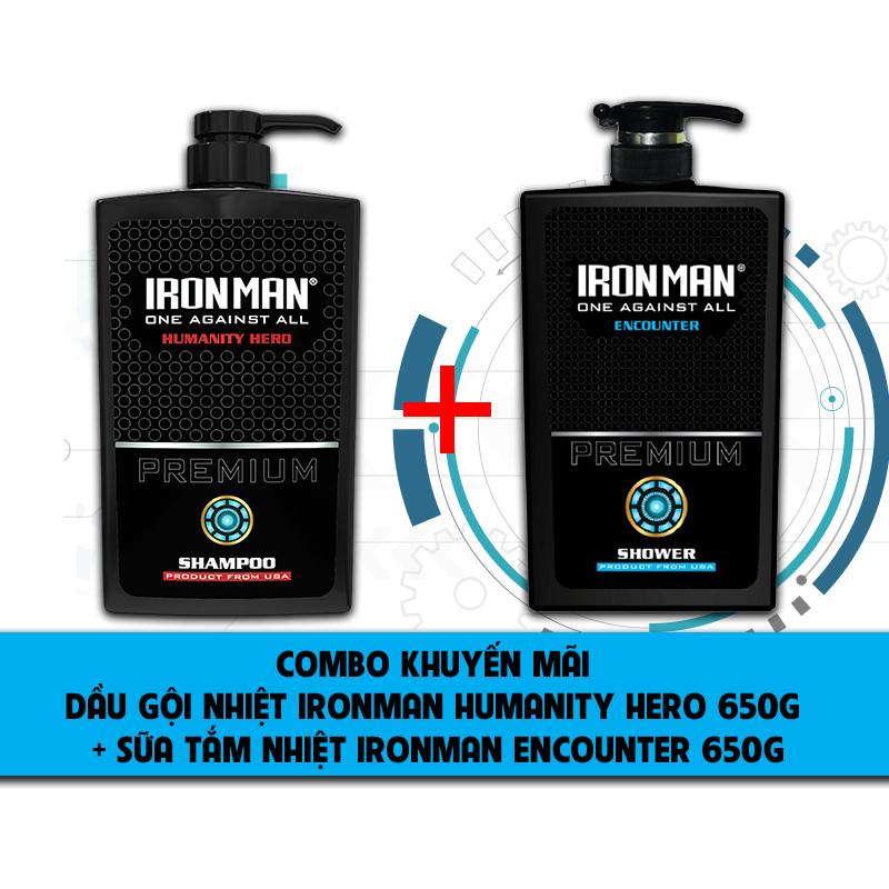 Dầu gội hương nước hoa nam  Ironman Humanity Hero 650g +sữa tắm dành cho da nhờn,thơm lâu nam Ironman Encounter 650g