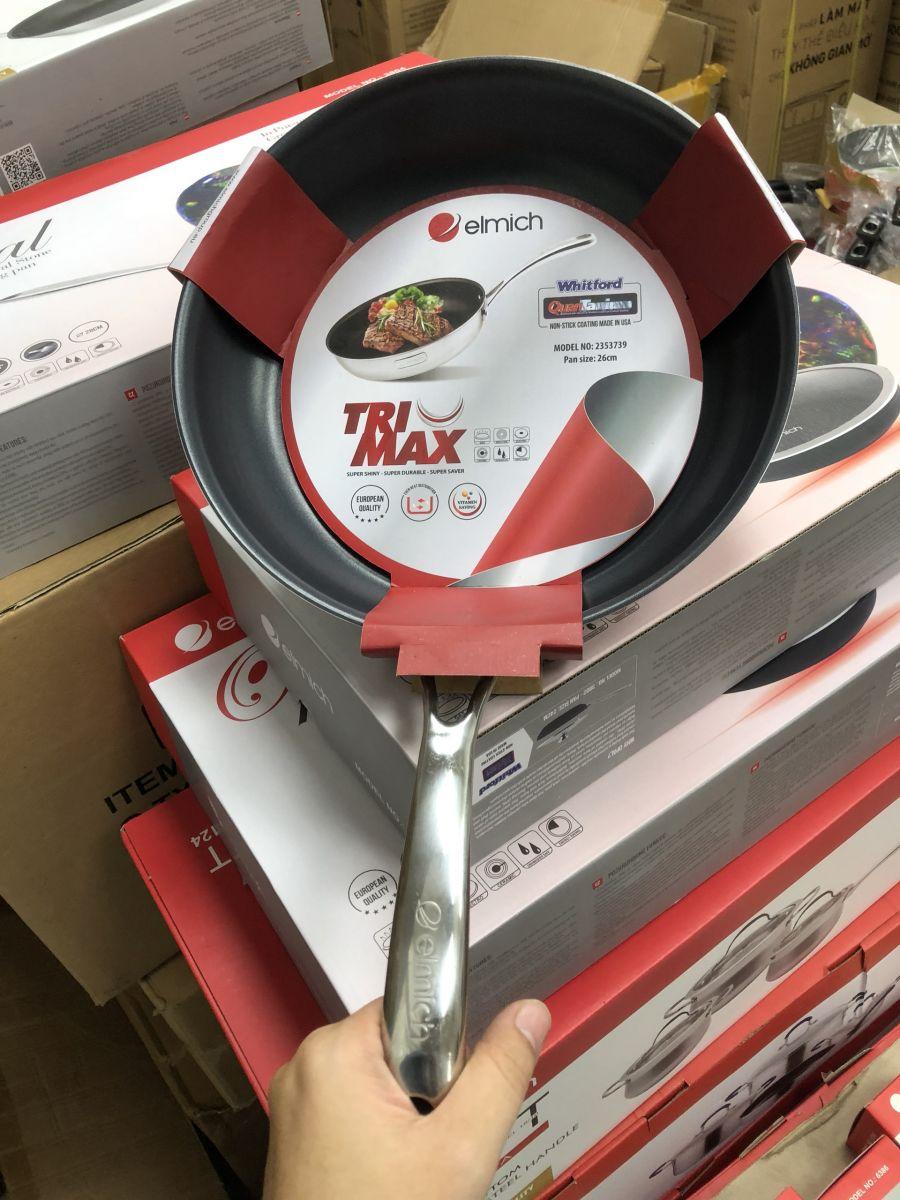 [Elmich - 3737] Chảo chống dính inox cao cấp 2 lớp đáy liền Tri-max