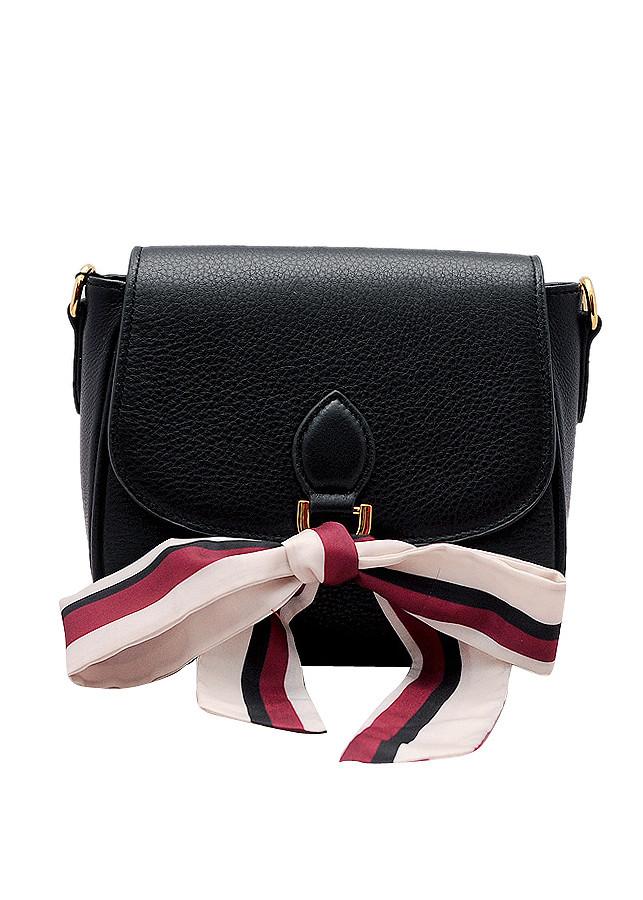 Túi đeo chéo nữ da bò thật màu đen ET721