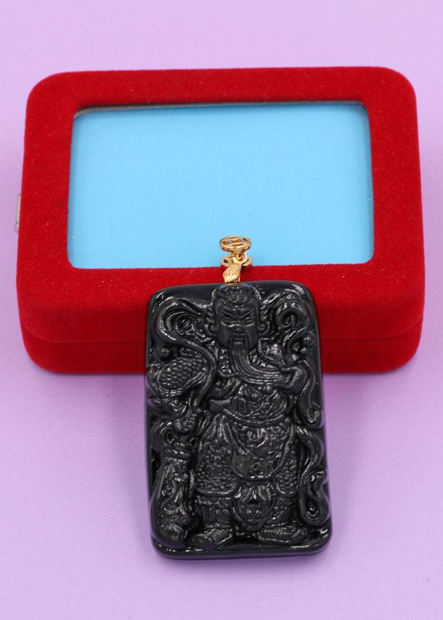 Mặt dây chuyền tượng Quan Công - thạch anh đen (3.6cm x 5.6cm) MQCTEL15 - kèm hộp nhung
