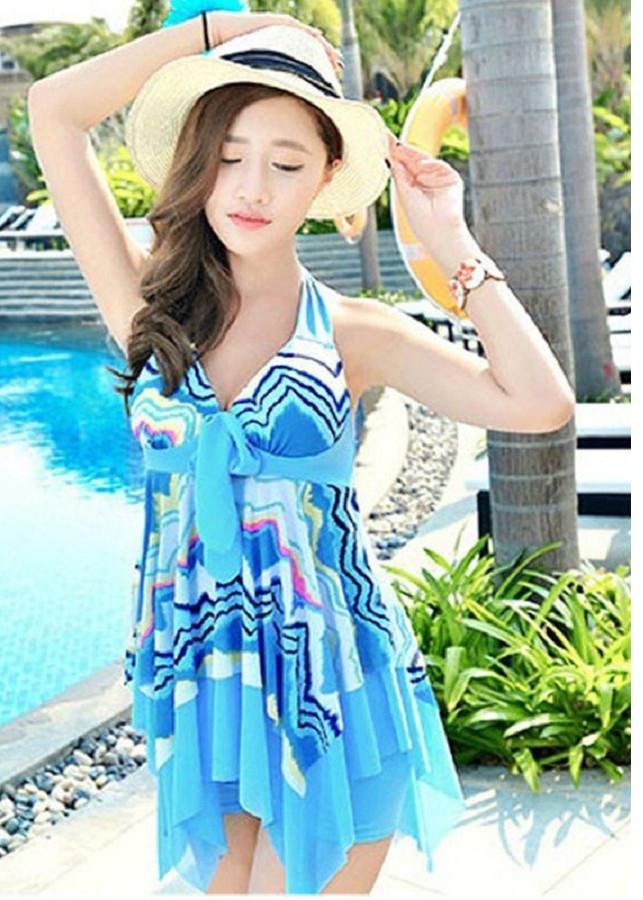 Set váy đi tắm biển có đệm ngực kèm quần trong váy chất thun co giãn (SÓNG BIỂN)