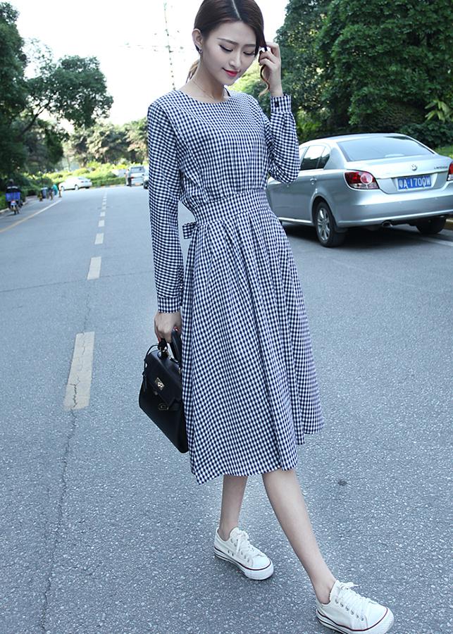Đầm nữ kẻ caro dài tay Haint Boutique Da43