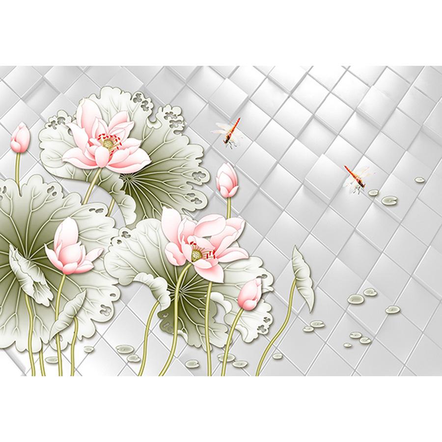 Tranh dán tường 3d | Tranh dán tường phong thủy hoa sen cá chép 3d 114