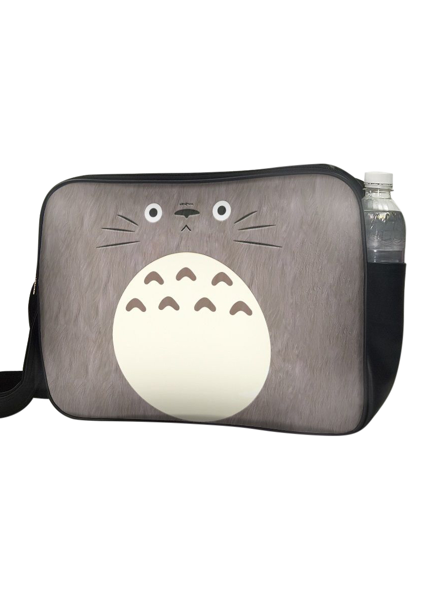 Túi Đeo Chéo Hộp Unisex In Hình Totoro Nâu Mặt Ngơ - TCMA223