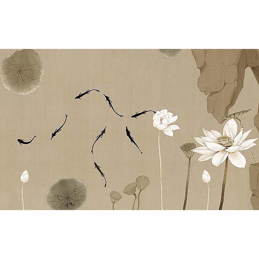 Tranh dán tường 3d | Tranh dán tường phong thủy hoa sen cá chép 3d 302