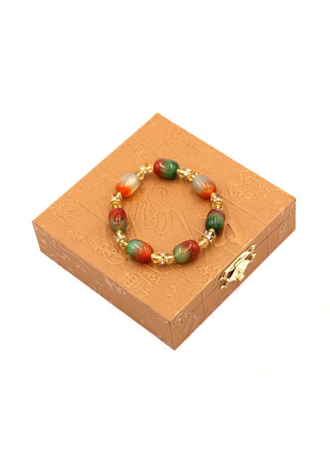 Vòng chuỗi đá thạch anh đỏ xanh FSOXO4 kèm hộp gỗ