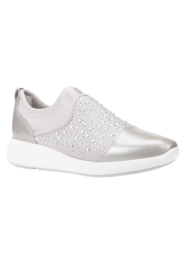 Giày Sneakers Nữ GEOX D OPHIRA B GBK SUEDE+LYCRA LT GREY - Bạc