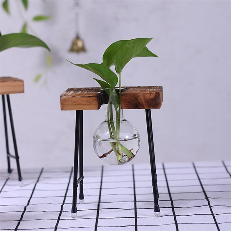 Fashionable Transparent Glass Vase with Wooden  Iron Stand for Water Planting Decoration Gift - 16232265 , 2199904187233 , 62_23085758 , 331200 , Fashionable-Transparent-Glass-Vase-with-Wooden-Iron-Stand-for-Water-Planting-Decoration-Gift-62_23085758 , tiki.vn , Fashionable Transparent Glass Vase with Wooden  Iron Stand for Water Planting Decor