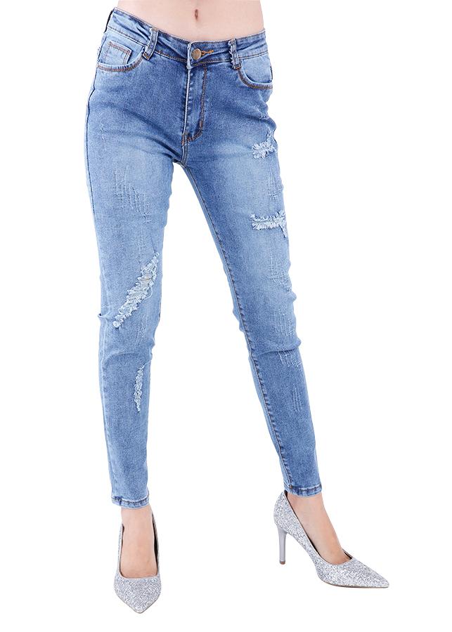 Quần Jeans Nữ Rách Cào Cao Cấp JNR001