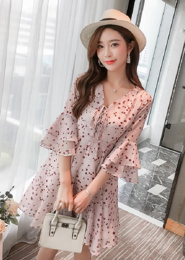 Đầm Voan Dáng Suông Tay Loa Hình Bông Hồng