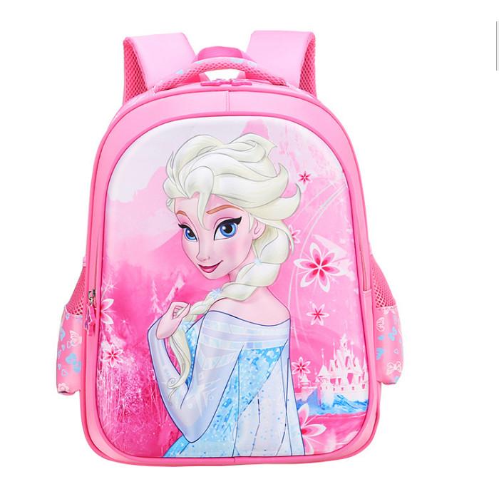 Balo bé gái Elsa 3D cấp 1 Hồng gạch