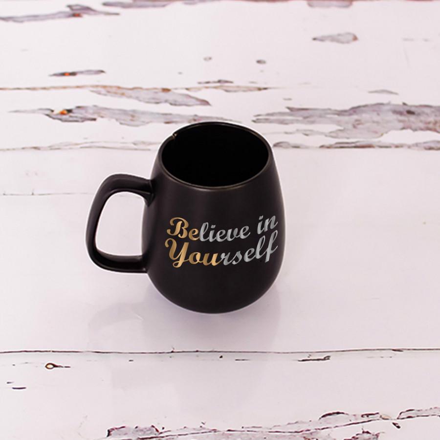 """Cốc trà túi lọc đen 0.35L """" Believe in yoursellf """""""