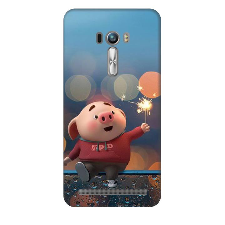 Ốp lưng nhựa cứng nhám dành cho Asus Zenfone Selfie ZD551KL in hình Heo Pháo Bông