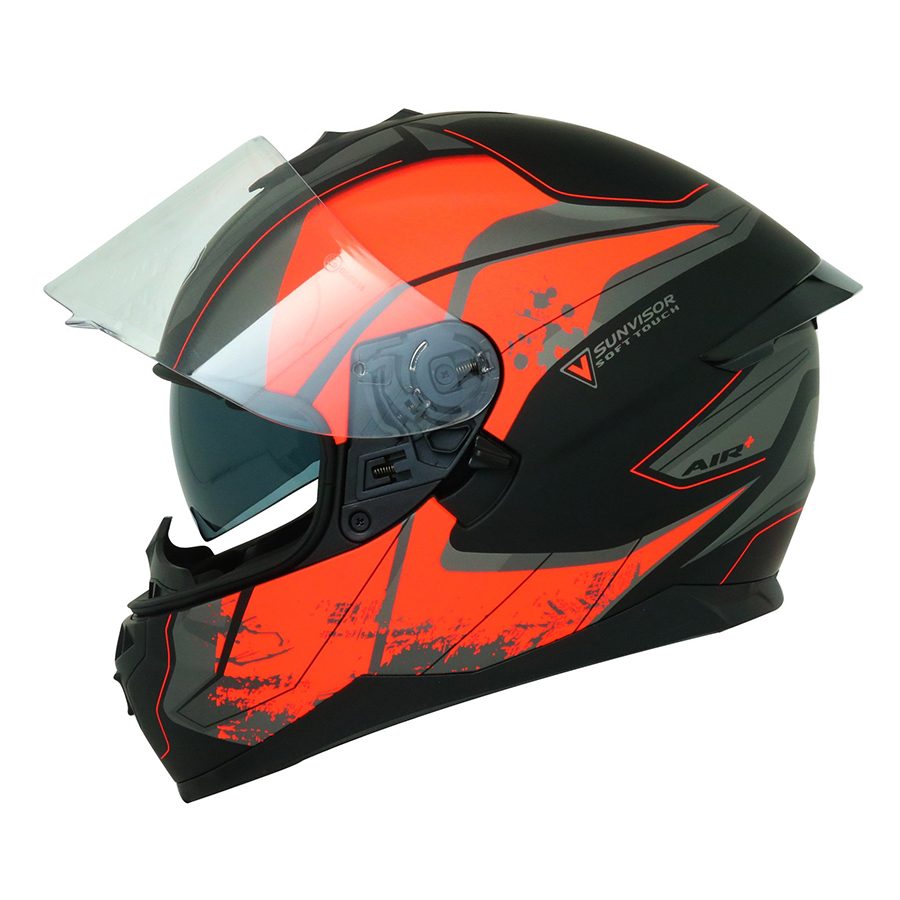 Mũ Bảo Hiểm Fullface Yohe 967 New 62# Matt - Black D.Gray/Fluo Orange
