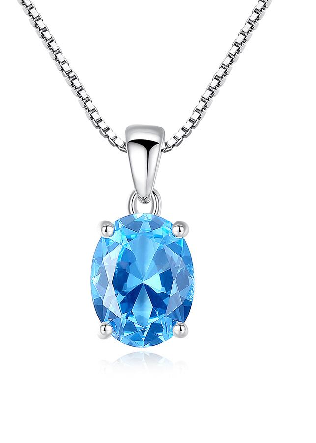 Dây Chuyền Bạc Nữ Đá Topaz Xanh M-1447 Bảo Ngọc Jewelry