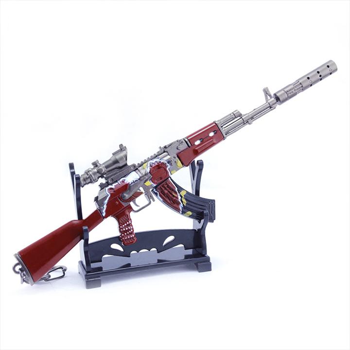 Móc khóa mô hình Game PUBG - AKM Gấu Xám + giá đỡ mô hình - 20cm