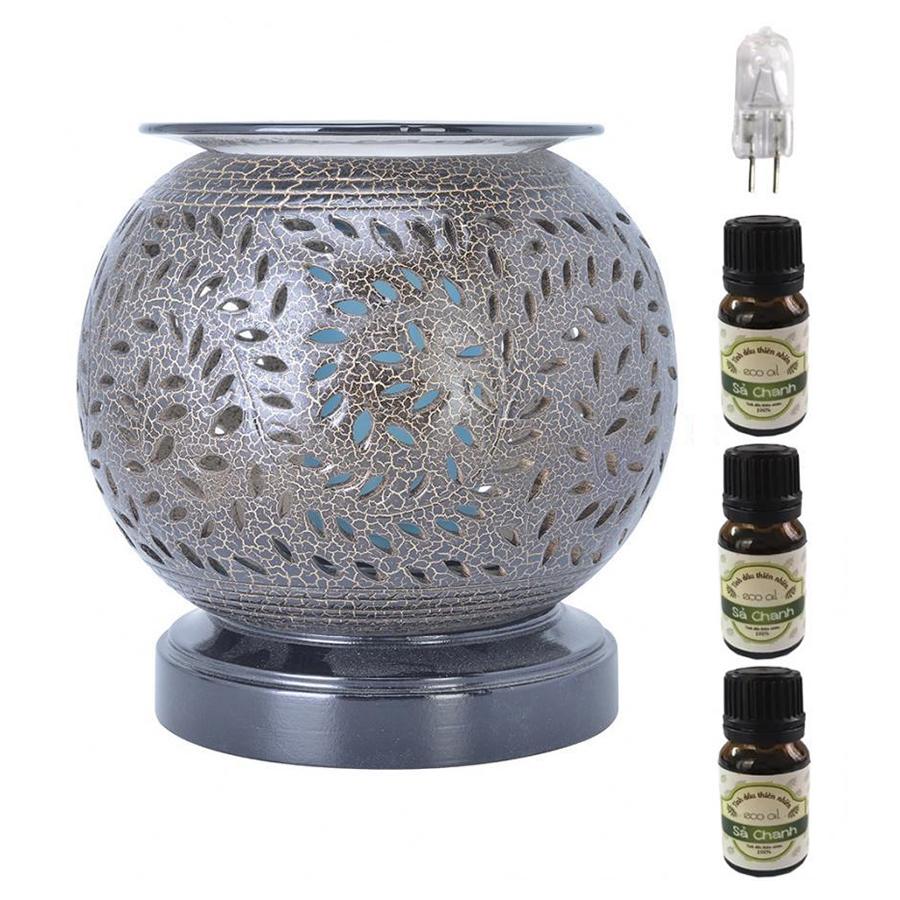 Đèn xông tinh dầu nâu đế gỗ AH08 và 3 tinh dầu sả chanh Eco 10ml và 1 bóng đèn