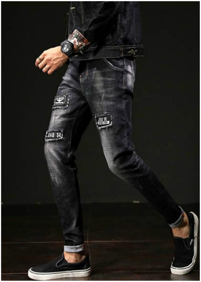 Quần jeans nam chắp vá jiao se Mã: ND1087