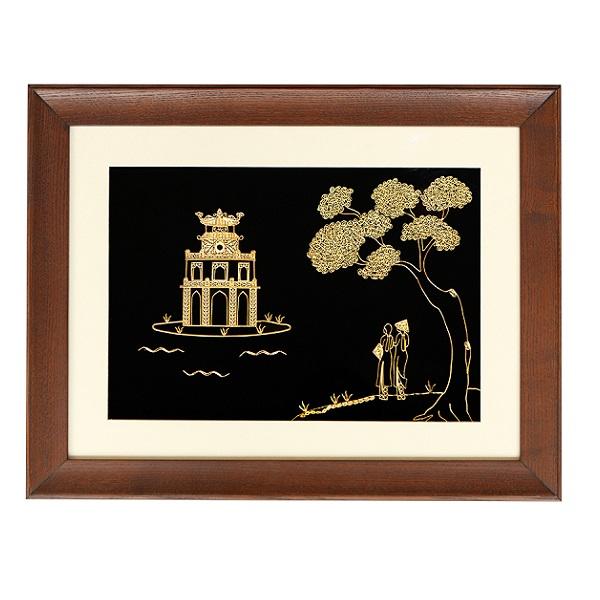 Tranh Tháp Rùa Hồ Gươm Hà Nội mạ vàng