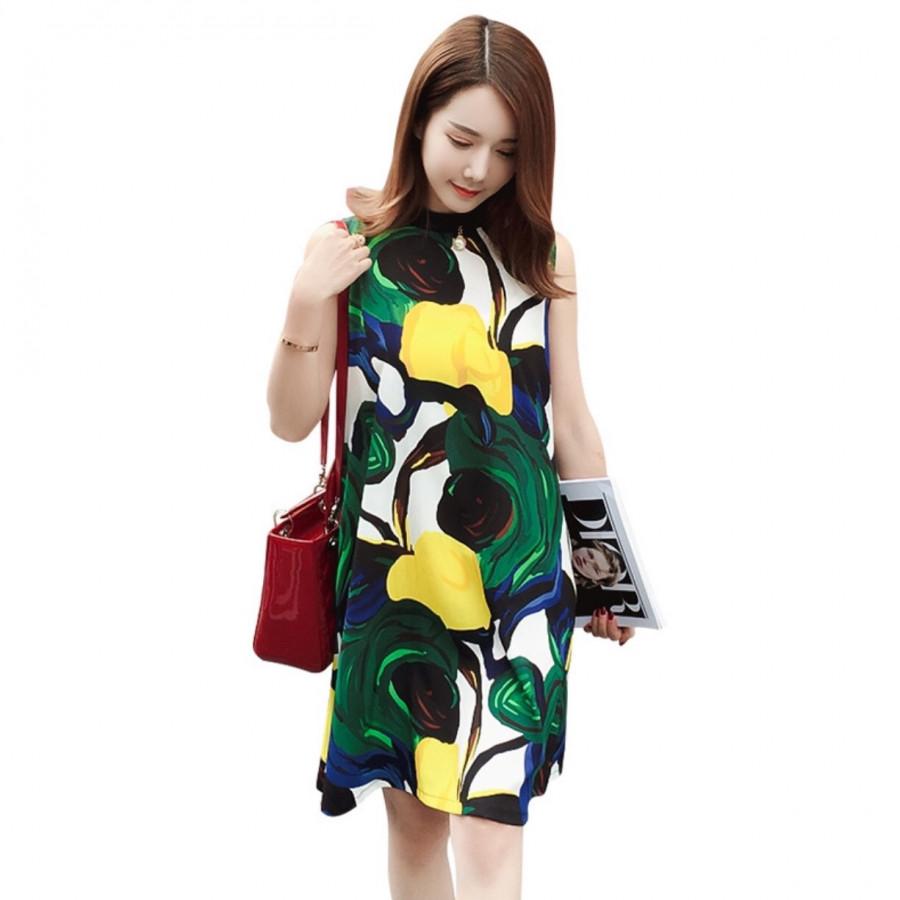 Váy Bầu Sát Nách Họa Tiết Hoa Cá Tính Thời Trang
