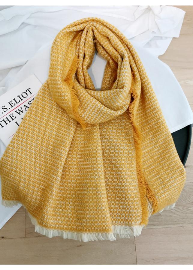 Khăn len 2 mặt Piccola Gemma chất mềm mịn + Tặng kèm 1 kẹp tóc Hàn Quốc