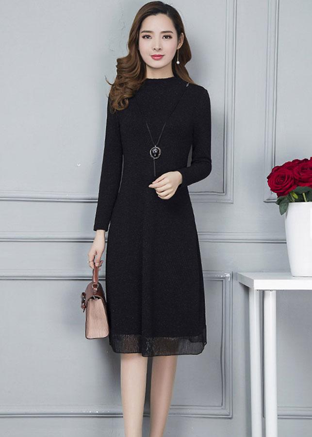 Đầm suông cổ cao đẹp kiểu đầm suông dự tiệc hoa dập nổi kèm phụ kiện màu đen D1185