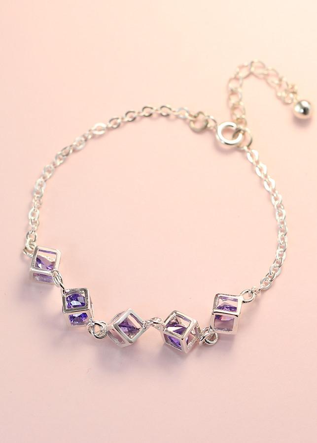 Lắc tay bạc nữ khối lập phương đính đá tím tinh tế LTN0094