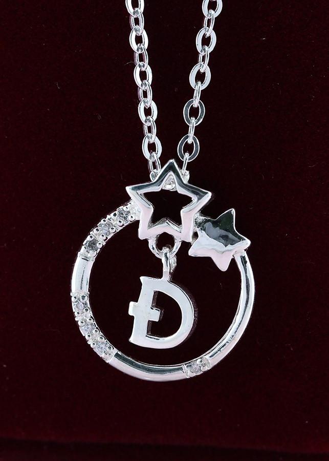 Dây chuyền bạc nữ mặt trăng sao khắc tên chữ Đ DCN0286