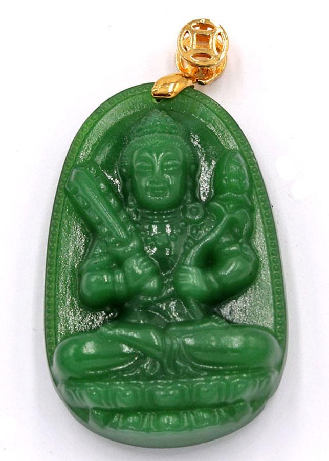 Mặt Phật Hư Không Tạng Bồ Tát - thạch anh xanh 5cm MTXN6 - tuổi Sửu, Dần