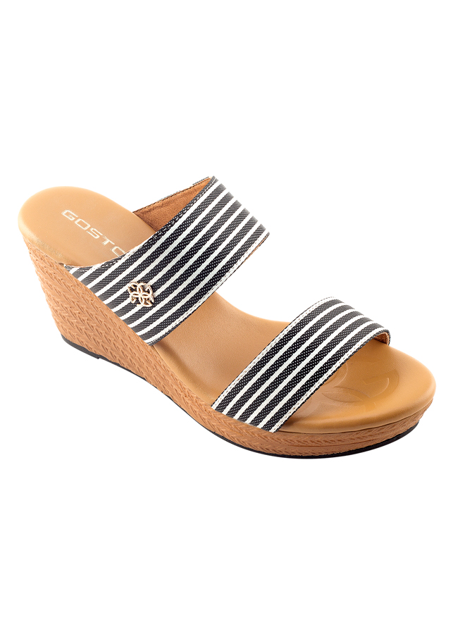 Giày Vải Sọc Nữ 7 Phân Sporty Chic Gosto GDW024300BLK - Đen