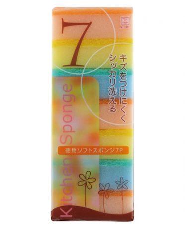 Set 7 miếng xốp rửa bát một mặt cứng nội địa Nhật Bản
