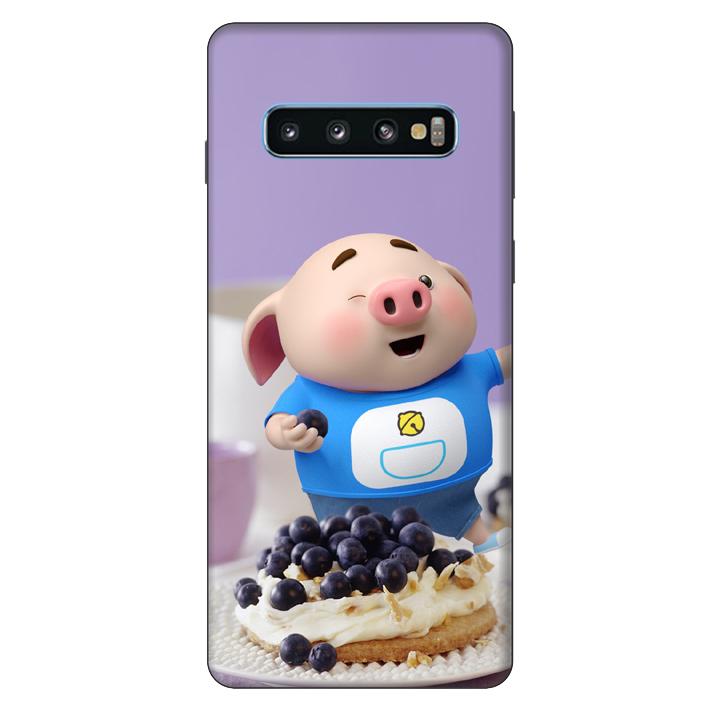 Ốp lưng nhựa cứng nhám dành cho Samsung Galaxy S10 in hình Heo Con Ăn Trái Cây