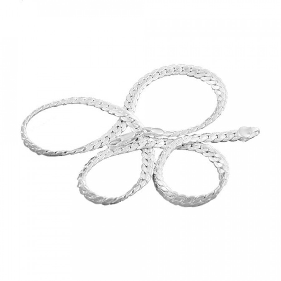 925 Sterling Silver 5mm Wide Neckalce Chain Bib Women Girls Party Jewelry Gift