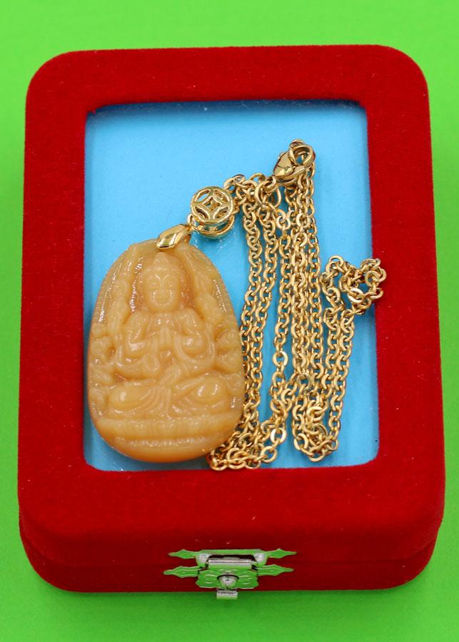 Vòng cổ phật Thiên Thủ Thiên Nhãn - thạch anh vàng 3.6cm DIVTVB8 - dây inox - kèm hộp nhung - tuổi Tý