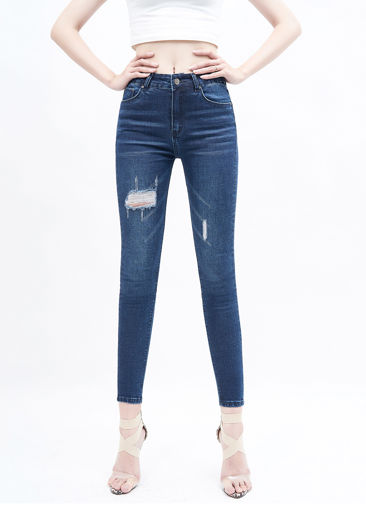 Quần jean nữ AAA JEANS skinny lưng cao rách xanh đậm - 15875397 , 5893327465295 , 62_20114048 , 429000 , Quan-jean-nu-AAA-JEANS-skinny-lung-cao-rach-xanh-dam-62_20114048 , tiki.vn , Quần jean nữ AAA JEANS skinny lưng cao rách xanh đậm