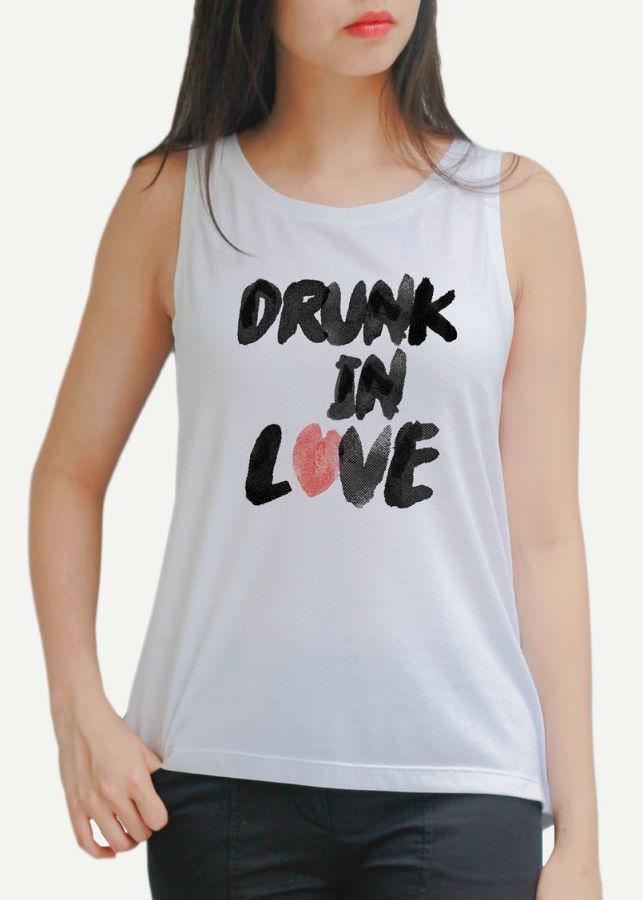 Áo Tanktop Nữ Drunk In love - Trắng