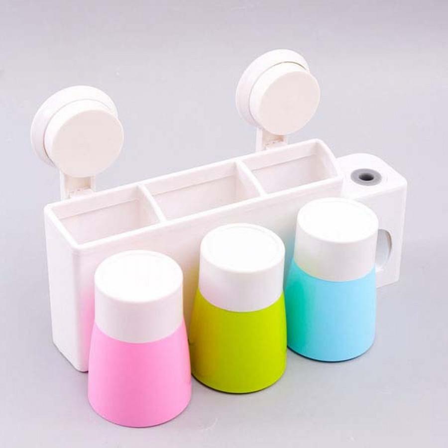Bộ nhả kem đánh răng tự động kèm 3 cốc - Dụng cụ nhả kem đánh răng - nhả kem tự động