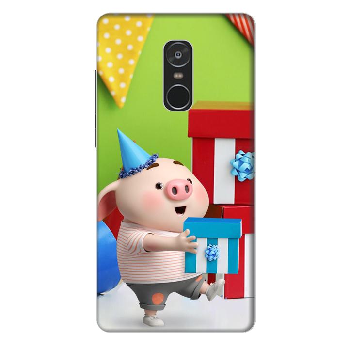 Ốp lưng nhựa cứng nhám dành cho Xiaomi Redmi Note 4 in hình Heo Con Mừng Sinh Nhật