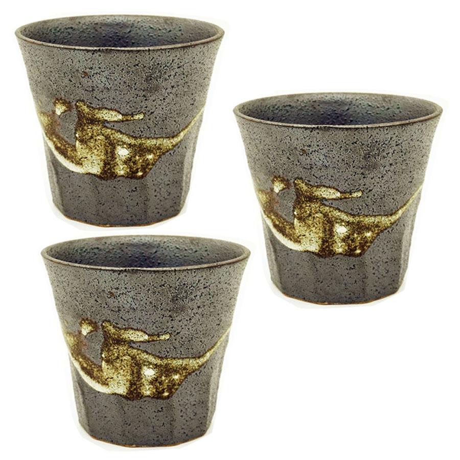 Bộ 3 cốc uống men sần họa tiết cổ xưa - Hàng nội địa Nhật