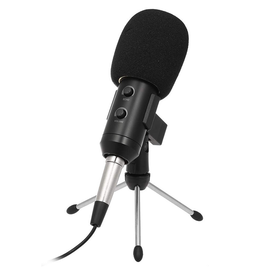USB Condenser Microphone USB Record Mic Plug  Play for Home Studio Voice Chat Recording Meeting Computer Microphone - Black